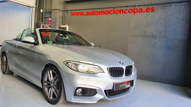 BMW Serie 2 218d Cabrio vista frontal y lateral derecho descapotado